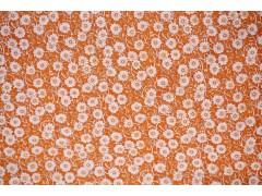Fat-quarter de tela florecitas blancas con fondo naranja